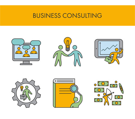 Line icons for business consulting. Vector linear set for web