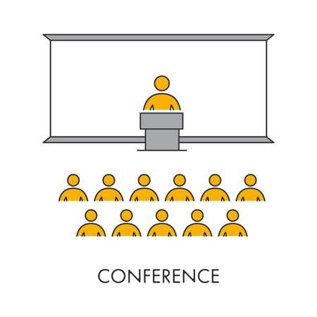 Line icon conference. Vector linear symbol speech. Isolated object on a white background