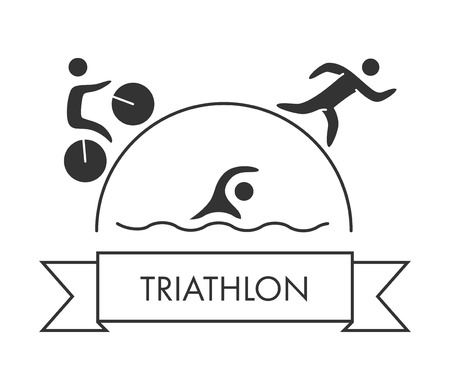 Triathlon icon. Swimming, cycling, running symbols. Silhouettes of figures triathlete. Vector sport label and badge
