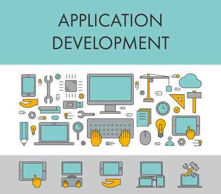 Line design concept horizontal banner for application development. Vector linear icons