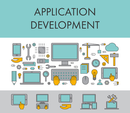 service: Line design concept horizontal banner for application development. Vector linear icons