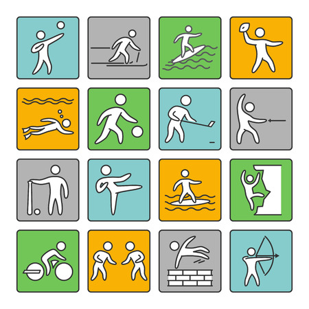 arts symbols: Sport icons. Set of linear sign. Vector shapes athletes on a white background.