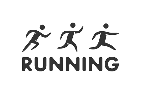 Black running symbol. Vector sport icon and label