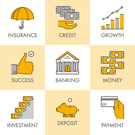 Linear and flat business icons for web. Insurance, credit, growth, success, banking, money, investment, deposit, payment. Vector set of symbols