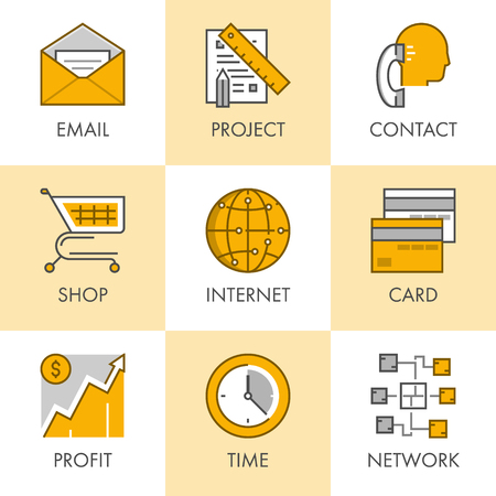 email contact: Linear and flat business icons for web. Email, project, contact, shop, internet, card, profit, time, network