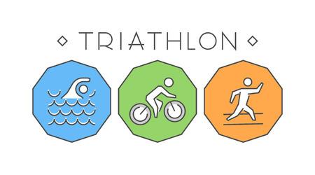 symbol sport: Linie und flach Triathlon. Schwimmen, Radfahren und Laufen-Symbol.