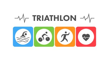 Line y triatlón plana. Natación, ciclismo y el icono de funcionamiento.