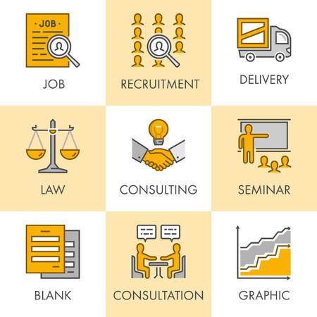 Vecteur linéaire et icônes d'affaires plates pour le web. Job, le recrutement, la livraison, le droit, la consultation, séminaire, blanc, graphique et consultation.