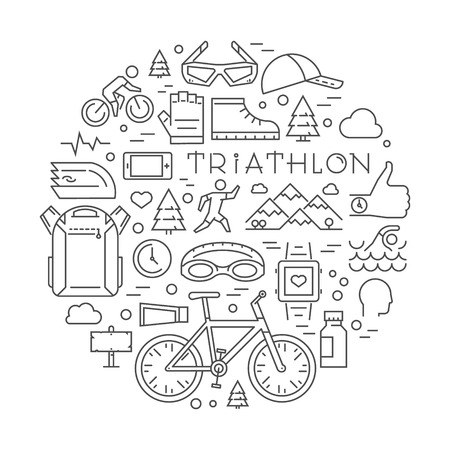 triathlete: Line triathlon icons. Silhouettes of figures triathlete. Vector sport label and badge for clubs and t-shirts