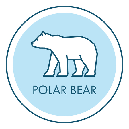 north pole sign: Vector line icon polar bear. Isolated flat symbol, label and badge