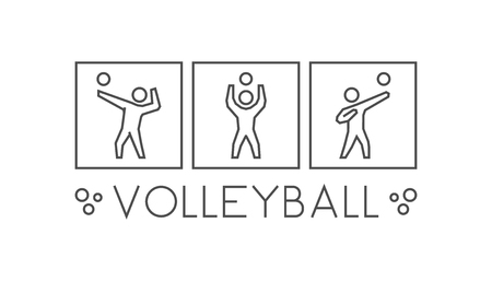 volleyball player: Vector line volleyball icons. Silhouettes of figures volleyball player. Linear sport symbol, label and badge Illustration