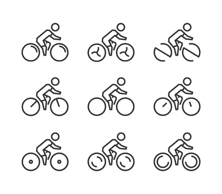 cyclist silhouette: Vector line cycling icon set. Cyclist silhouette figures. Sport symbol, label and badge.