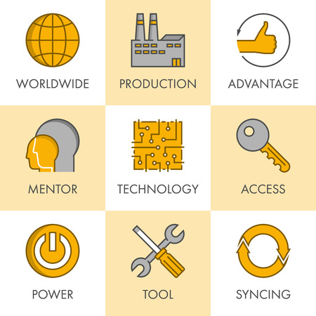 syncing: Vector line and flat business icon set for web. Black and yellow. Worldwide, production, advantage, mentor, technology, access, power, tool and syncing.