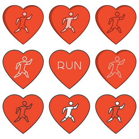 Vector linear running logo and symbol. I love run. Sport label and badge.