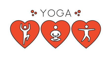 yogi: Vector line yoga logo. I love yoga. Silhouette figures yogi. Linear sport symbol, label and badge.