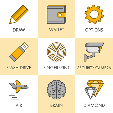flash drive: Vector line and flat business icon set for web. Black and yellow. Draw, wallet, options, flash drive, fingerprint, security, camera, air, brain and diamond.