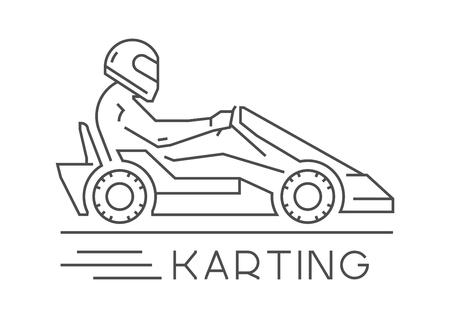 kart: Line and flat karting logo and symbol. Silhouette figures kart racer. Linear sport symbol, label and badge. Illustration