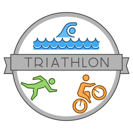 Line and flat triathlon logo and symbol. Swimming, cycling and running. Vector sport label and badge.