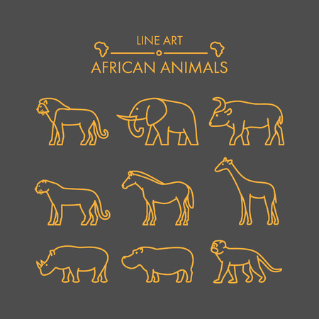 siluetas de elefantes: establece líneas de vector icono de animales africanos. Lineal figura leones, guepardos, leopardos, elefantes, búfalos y jirafas. Vectores