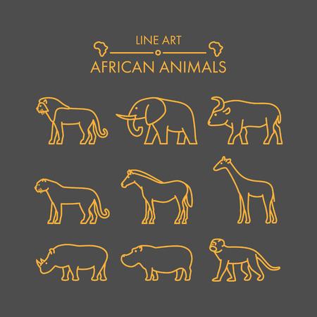 icon: Vector line african animals icon set. Linear figure lion, cheetah, leopard, elephant, buffalo and giraffe.