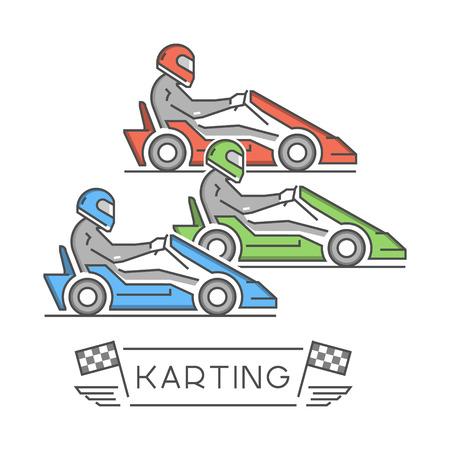 Line and flat karting logo and symbol. Silhouette figures kart racer. Linear sport symbol, label and badge. Illustration