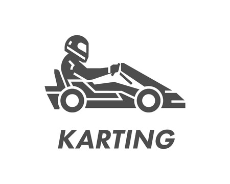 Line and flat karting logo and symbol. Silhouette figures kart racer. Linear sport symbol, label and badge. Иллюстрация