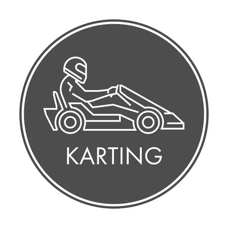 karting: Line and flat karting logo and symbol. Silhouette figures kart racer. Linear sport symbol, label and badge. Illustration