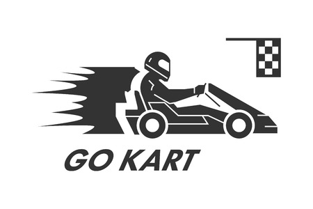 Vector black flat karting logo and symbol. Silhouette figures kart racer. Karting label and badge.