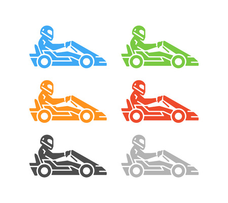 kart: Vector flat karting logo and symbol. Silhouette figures kart racer. Go kart label and badge. Illustration