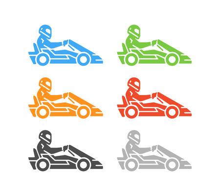 karting: Vector flat karting logo and symbol. Silhouette figures kart racer. Go kart label and badge. Illustration