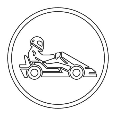 karting: Vector line and flat karting logo and symbol. Silhouette figures kart racer. Linear sport symbol, label and badge.