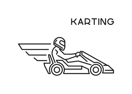 racer: Line and flat karting logo and symbol. Silhouette figures kart racer. Linear sport symbol, label and badge. Illustration