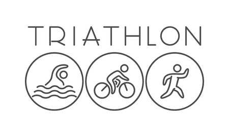 Vector line and flat triathlon logo and symbol. Black and white figure triathletes. Swimming, cycling and running. Sport label and badge. Illustration