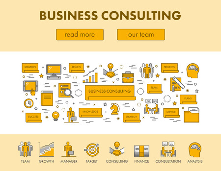 landing: Line design concept web banner and icons for business consulting. Vector landing page. Black and yellow.