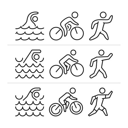 bicycling: Vector linear and flat triathlon logo and icons. Black and white figure triathletes. Swimming, cycling and running. Sport label and badge.