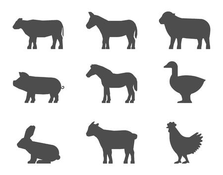 burro: Negro conjunto de siluetas de animales de granja en un fondo blanco. Vector de la forma de vaca, cerdo, conejo, burro, caballo, cabra, oveja, ganso y pollo. Vectores