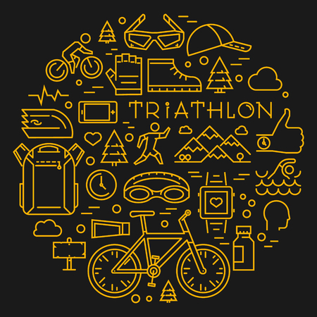triathlon: Line triathlon logo and icons. Silhouettes of figures triathlete. Sport label and badge for clubs and t-shirts. Illustration