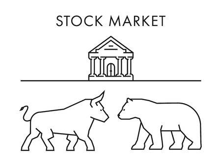 Line design concept for stock market. Vector silhouette figures bull and bear. Linear stock logo and symbol. Illustration