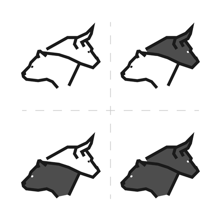 Line design concept for gambling on the rise and a fall. Vector linear bull and bear. Line logo for stock market.