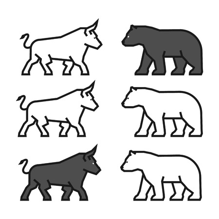 Linear concept for gambling on the rise and a fall. Vector line bull and bear. Line logo for stock market.
