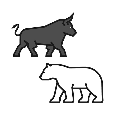stock quotes: Linear concept for stock market on the rise and a fall. Vector line bull and bear. Line logo for gambling. Illustration