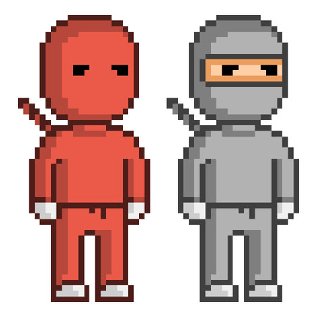 8 bit: Vector pixel art red and black ninja. Pixel units for 8 bit video games.