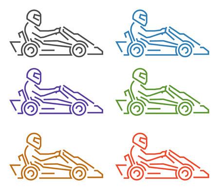 karting: Vector thin linear karting logo and icon. Line figures kart racer. Go kart label and badge.