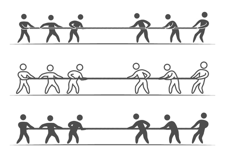 Vector thin linear tug of war logo and icon. Line figures people. Tug of war label and badge.