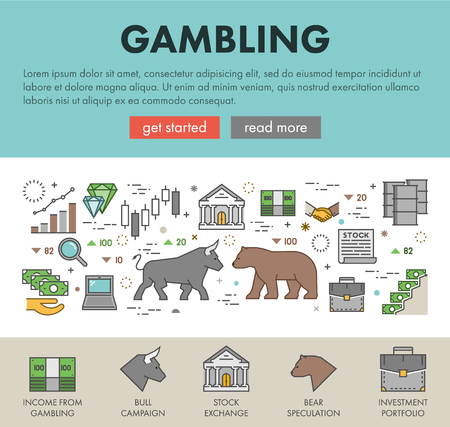 stock quotes: Linear concept for gambling on the rise and a fall. Vector line design landing page for gambling.
