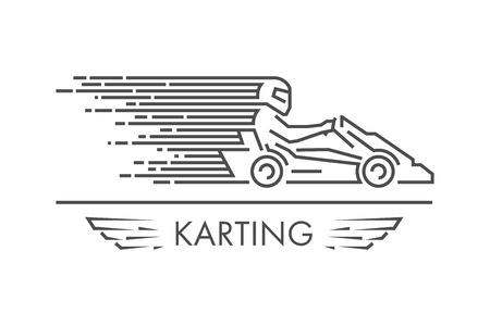 Vector lijn karting logo en het pictogram. Lineaire go kart symbool en label. Silhouette cijfers kart racer.