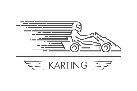 kart: Vector line karting logo and icon. Linear go kart symbol and label. Silhouette figures kart racer.