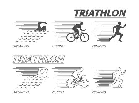 Modern line logo triathlon. Flat black logo triathlon. Vector figure triathletes. Swimming, cycling and running symbol.