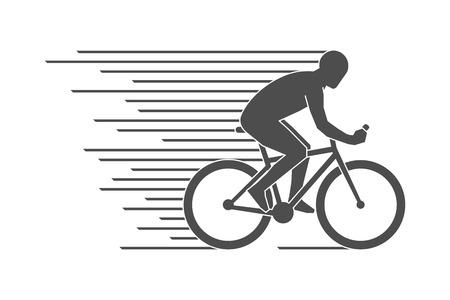 Zwarte platte fietsen logo en het pictogram. Vector cijfers fietser. Sport symbool, label en badge. Stock Illustratie