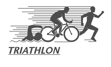 Black flat logo triathlon. Vector figures triathletes on a white background. Swimming, cycling and running symbol. 向量圖像